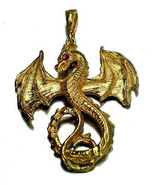 Fantasy Mythical Ruby Dragon Pendant Charm Gold Plated - $54.78