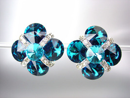 EXQUISITE Teal Blue Swarovski Crystals Bridal Prom Pageant Queen CLIP Earrings - £19.75 GBP