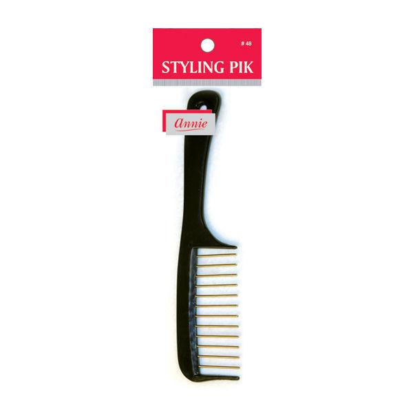 "Annie Styling Pik Hair Brush w/ Metal Teeth Wide Comb 8"" Long #48 *Random Color"
