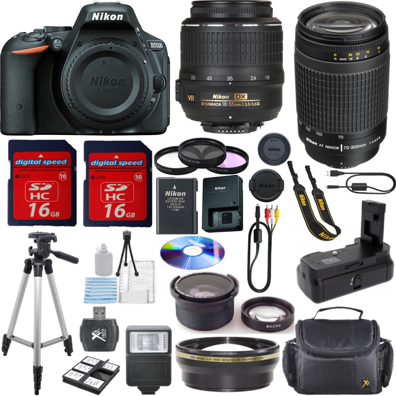 Nikon D5500 Bundle+18-55mm VR+70-300mm G+Power Battery Grip+32GB Kit+++EXTRAS! for sale  USA