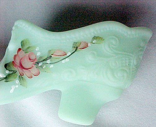 Bow Slipper Jadite Satin Glass Shoe Hand Painted Roses