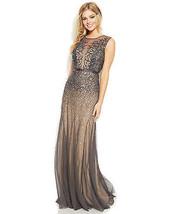 Adrianna Papell New Womens Gunmetal Sleeveless Beaded Illusion Gown Petites  8P - $246.51