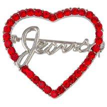 Jesus Red Rhinestones Heart Pin Brooch Christian - $9.85