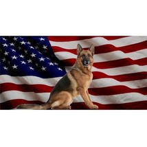 german shepherd dog on united states chrome license plate made in usa - $18.98