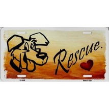 love rescue dogs metal color license plate made in usa - $18.98