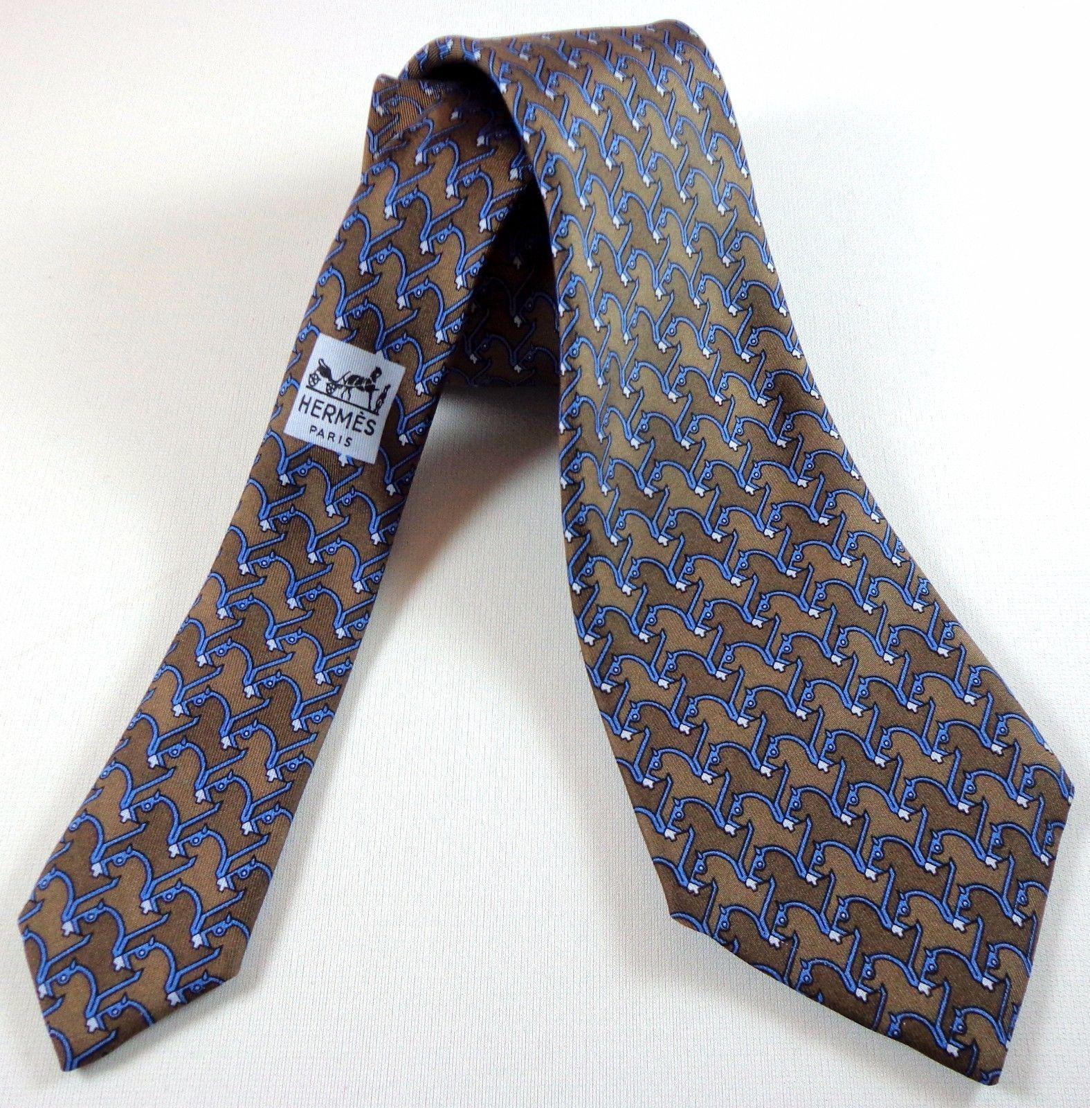 cda8e51591c3 HERMES Paris Mens Silk Necktie 877 PA Horse and similar items. 57