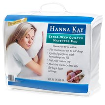 Hypoallergenic Quilted Stretch-to-Fit Mattress Pad By Hanna Kay, 10 Year... - $42.44