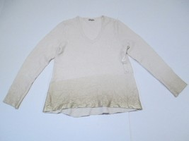 Calvin Klein Jeans V-Neck Long Sleeve Sweater, Gold/Cream, Sz. Large - $34.40