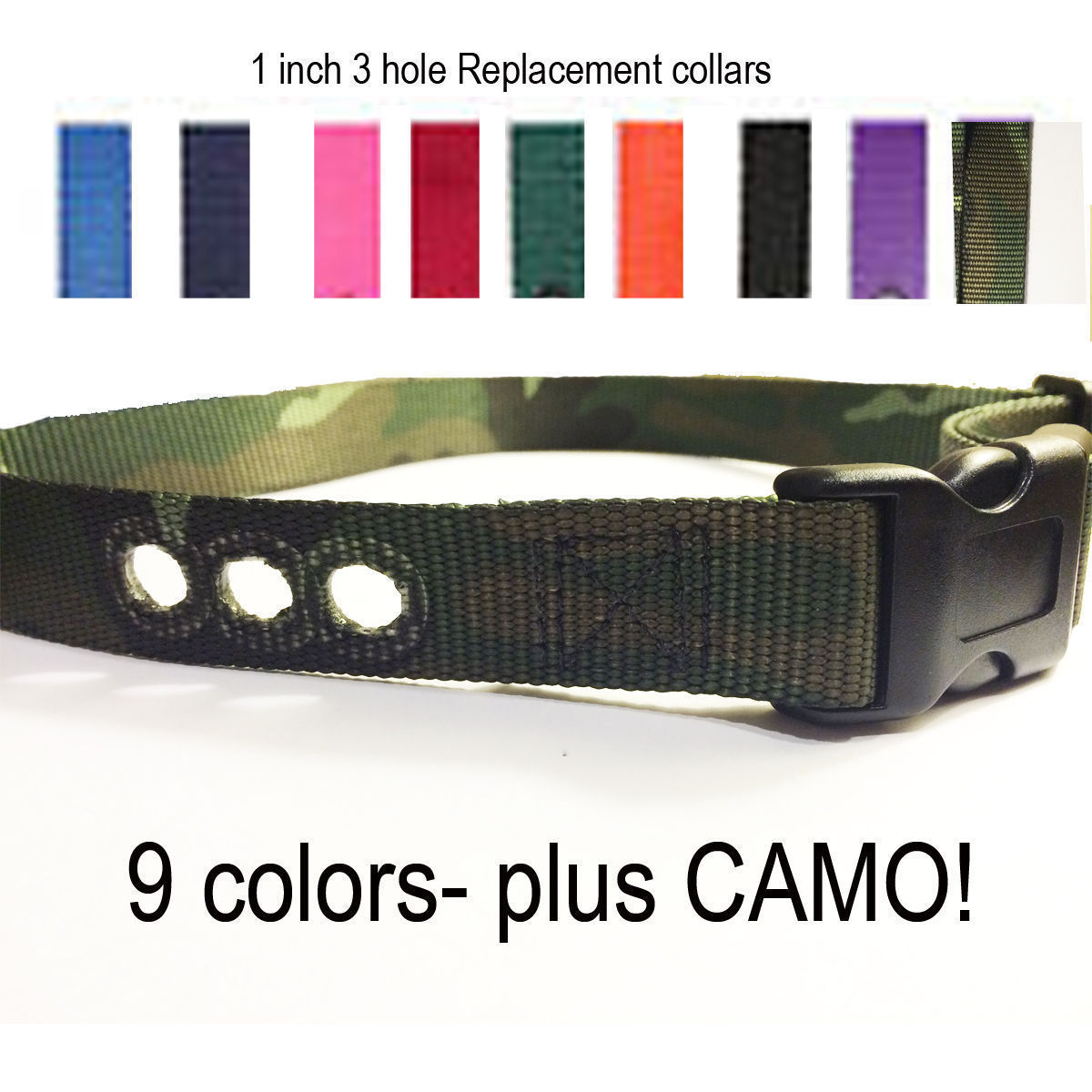 "1"" Dog Fence PIF-275-19 Replacement Collar Strap  RFA 48 Camo + Colors"