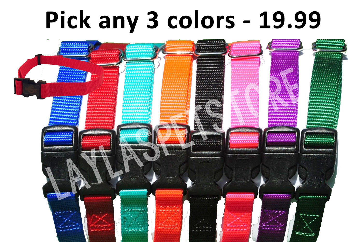 "(3) Nylon 3/4 "" Wide Replacement Dog Collar Strap For Stay+Play Wireless Fence"