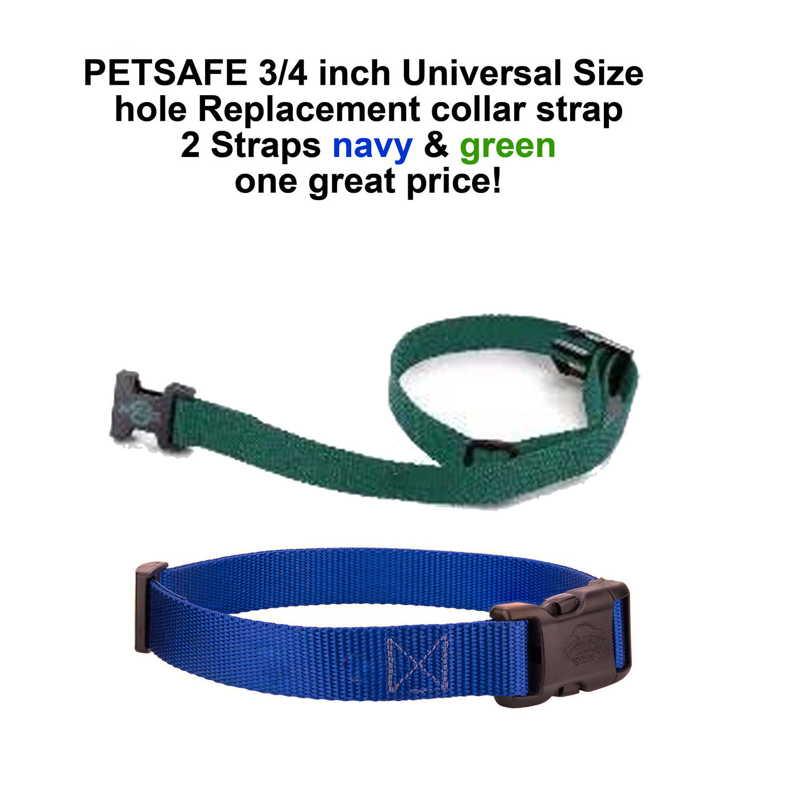 3/4 inch Universal Size Replacement collar strap- 2 Straps Navy & Green