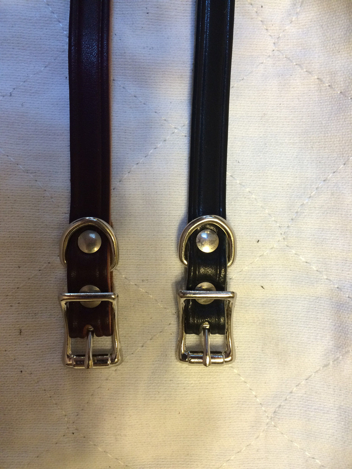 "BROWN OR BLACK LEATHER 16"" LONG 1/4 "" WIDE CANINE DOG COLLAR"