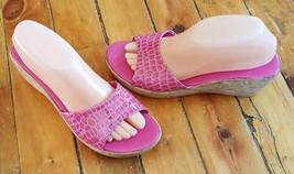 8 hot VGUC Lorenzo sandals on pink slip croc cork alligator print wedge Chelini w75Eqg5B