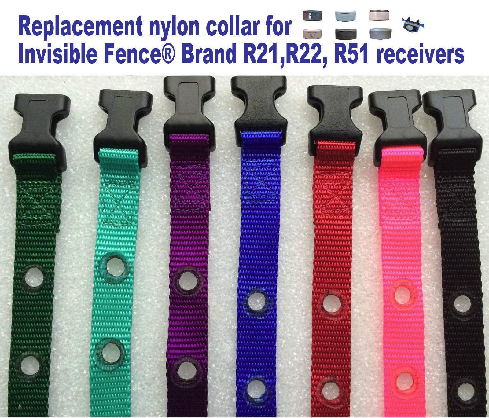 "Invisible Fence Brand R21 R22 R51 Replacement Nylon Collar 3/4"" 2 Hole NEW"