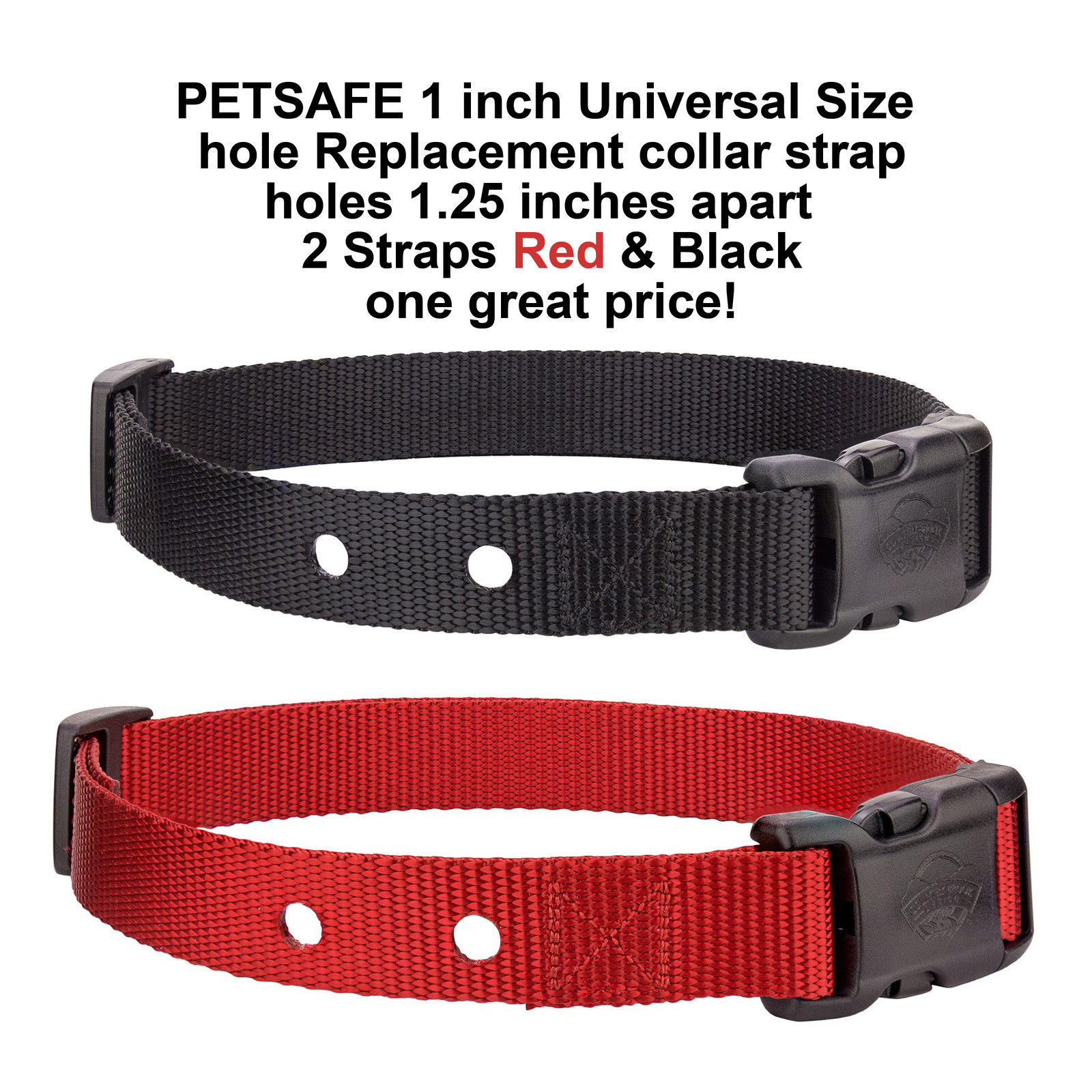 PETSAFE 1 inch Universal Size Replacement collar strap- 2 Straps Red & Black
