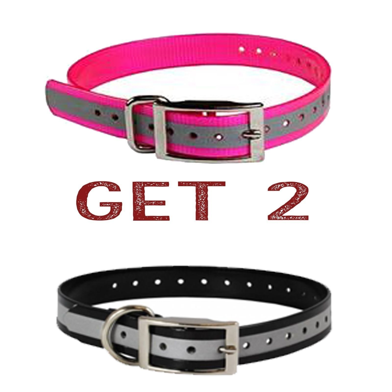 "Sparky PetCo 1"" 1- Black/1- Pink Reflective Square Buckle High Flex Dog Strap"