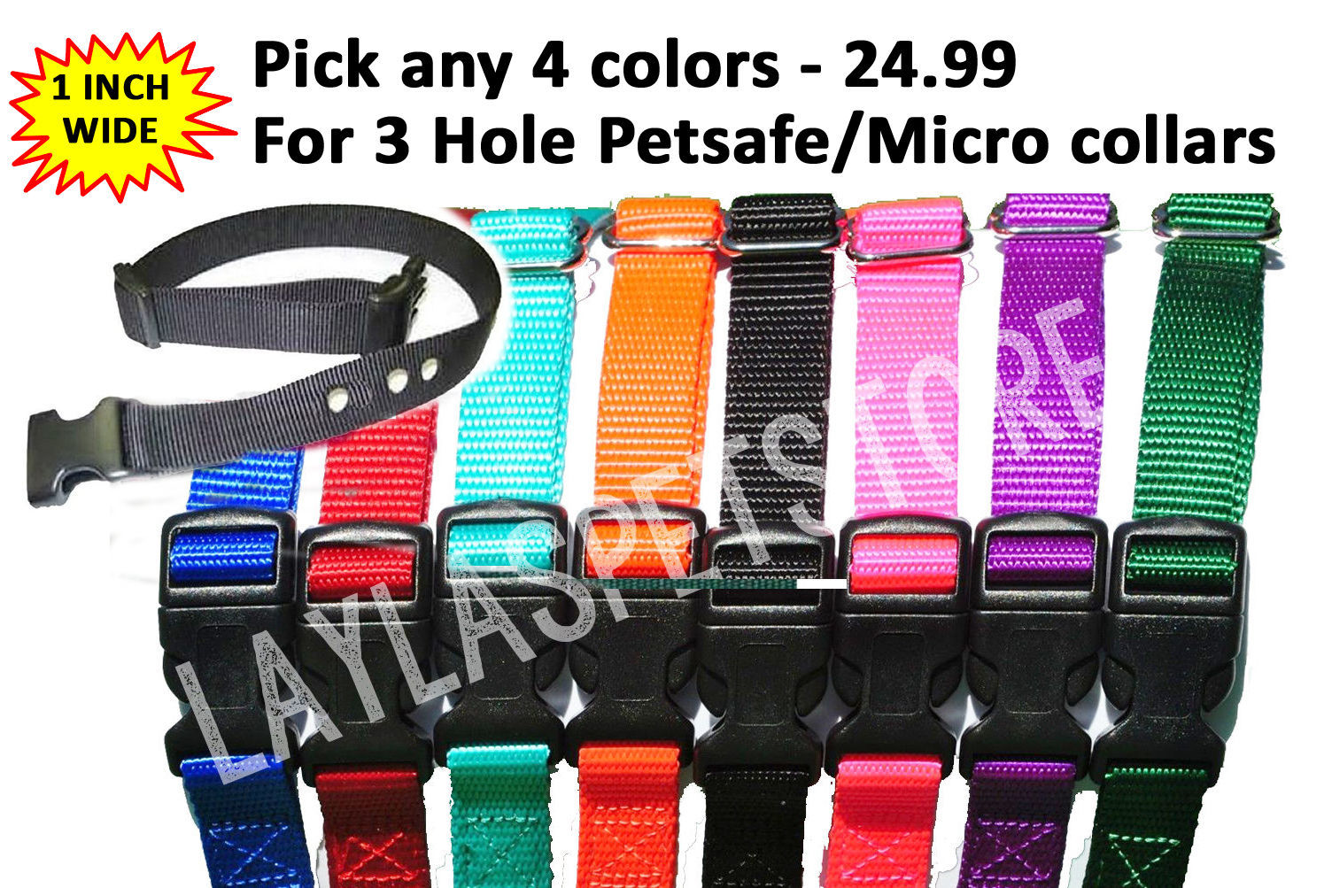 "PetSafe 4-1"" Nylon 4 Dog Fence Collar Receiver Strap 3 Hole PBC-302 PDBC-300"
