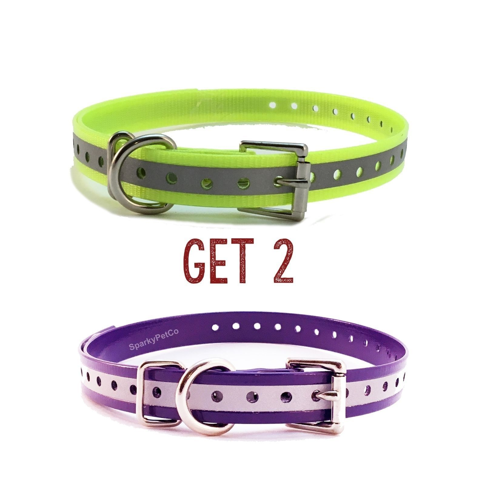 "Sparky PetCo 3/4"" Purple Yellow Reflective Roller Buckle High Flex Dog Straps-2"