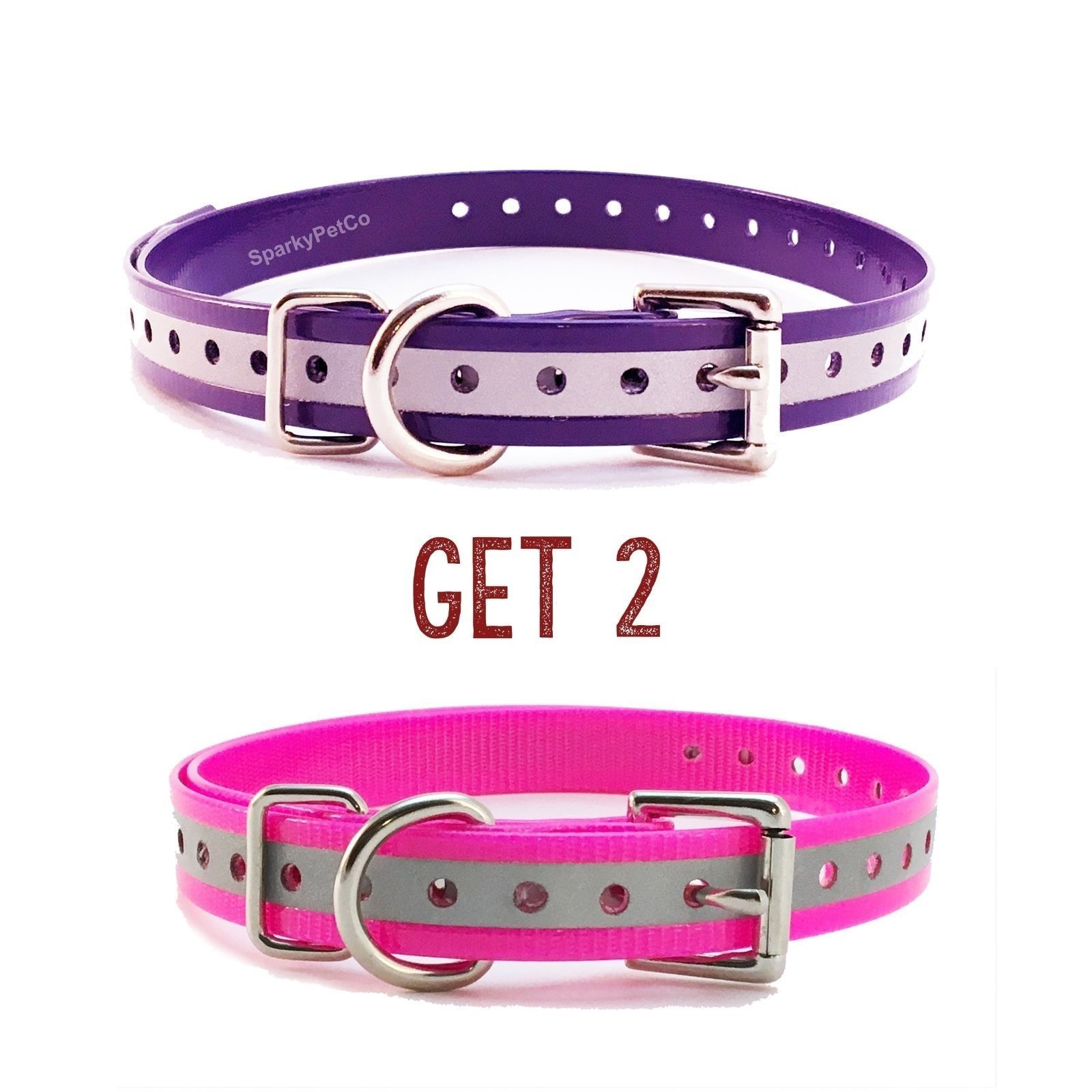 "Sparky PetCo 3/4"" 1 Pink  & Purple Reflective Roller Buckle High Flex Dog Strap"