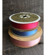 3 Vintage Spools of Ribbon for Making Bows~ Pink, Blue, and Hot Pink  - $19.95