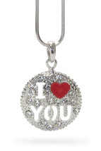 Girls Ladies I Love You Valentine Heart Red Clear Crystal Round Pendant Necklace - $11.95