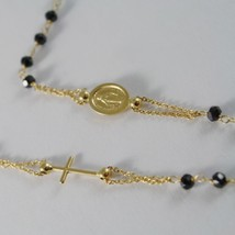 18K YELLOW GOLD ROSARY NECKLACE MIRACULOUS MEDAL & CROSS BLACK SPINEL ITALY MADE image 2