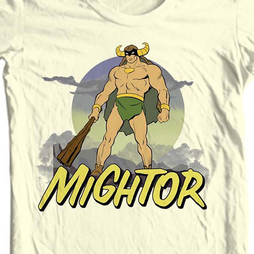 Mightor saturday morning cartoons retro tan t shirt