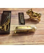 Nate Berkus Limited Edition Gold Desk Set Stapler Bulldog Tape Dispenser... - $124.36