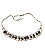 Rhinestone Necklace 15 inch Prong Set Vintage - $24.00