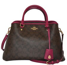 Coach Signature SM Margo Carryall Tote Purse Handbag Bag Brown Fuchsia - £374.46 GBP