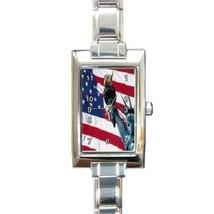 Ladies Rectangular Italian Charm Watch American Flag Gift model 16796299 - $11.99