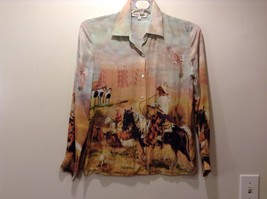 Western Style Collared Button Up Silk Blouse Sz S