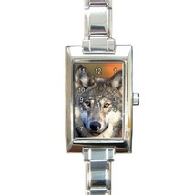 Ladies Rectangular Italian Charm Watch Gray Wolf Gift model 22523282 - $11.99
