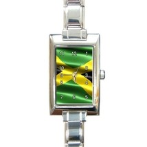 Ladies Rectangular Italian Charm Watch Jamaica Flag Gift model 16867000 - $11.99