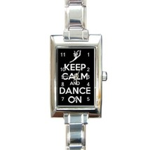 Ladies Rectangular Italian Charm Watch Keep Calm And Dance On Gift model... - $11.99