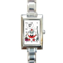 Ladies Rectangular Italian Charm Watch Lets Go Fishing Gift model 17483233 - $11.99