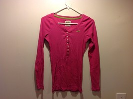 Hollister Bright Pink Long Sleeve Shirt Sz Medium