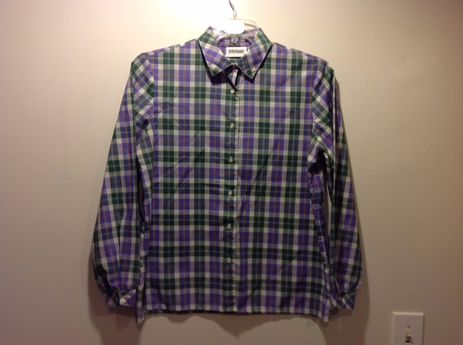 Ladies Country Suburbans Long Sleeve Plaid Button Up Shirt Sz 14