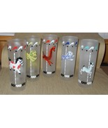 Lot of 5 Vintage Libbey Frosted Carousel Circus Animal Beverage Glasses ... - $50.00