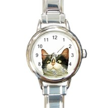 Ladies Round Italian Charm Bracelet Watch Cat Face Butterfly On Nose 325... - $11.99