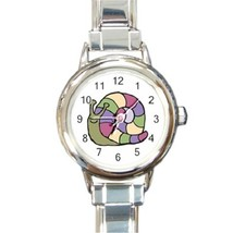 Ladies Round Italian Charm Bracelet Watch Colorful Striped Snai Gift 145... - $11.99