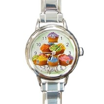 Ladies Round Italian Charm Bracelet Watch Cupcakes Food Dessert Kitchen ... - $11.99