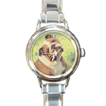 Ladies Round Italian Charm Bracelet Watch Cute English Bulldog Dog Pet 3... - $11.99