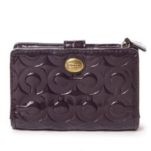 Coach Peyton Embossed Patent Leather Medium Wallet Purple - $255.42