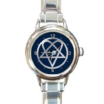Ladies Round Italian Charm Bracelet Watch Dark Blue Heartagram HIM Icon ... - $11.99