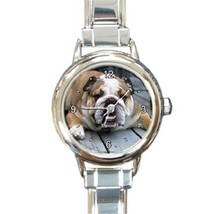 Ladies Round Italian Charm Bracelet Watch English Bulldog Dog Pet Gift 2... - $11.99