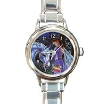 Ladies Round Italian Charm Bracelet Watch Fantasy Fairy Unicorn Mystery ... - $11.99
