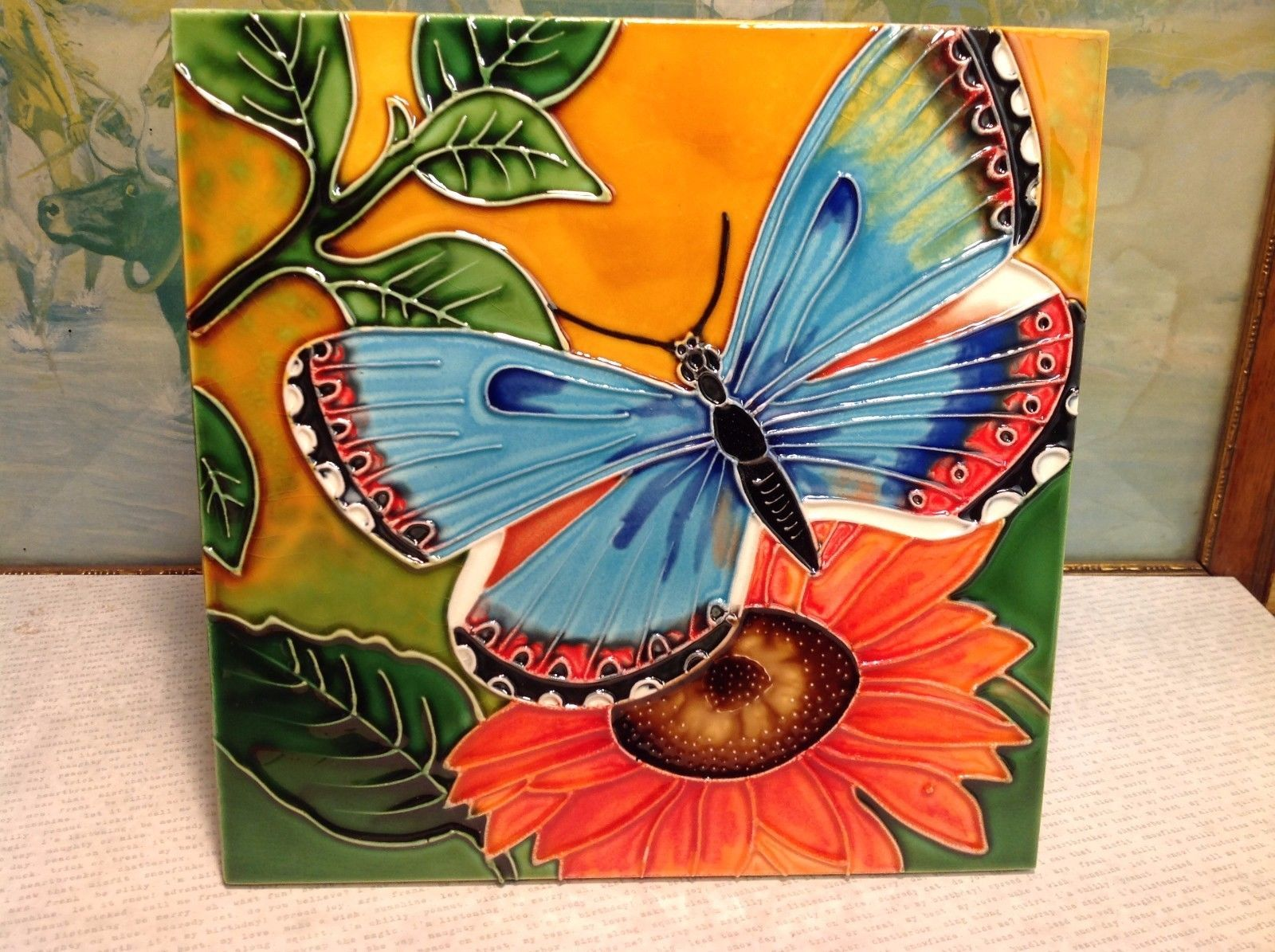 Butterfly and Sunflower Ceramic Art Tile NEW