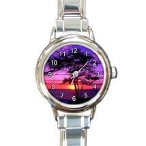 Ladies Round Italian Charm Bracelet Watch Kiawe Tree Sunset Hawaii Gift ... - $11.99
