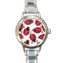 Ladies Round Italian Charm Bracelet Watch Ladybugs Bugs Insect Gift 2648... - $11.99
